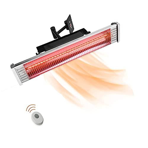HOLITU Mando a Distancia Calentador De Terraza,Montaje Pared Impermeable Eléctrico Calefactor De Infrarrojos,Ahorro Energético a Prueba De Salpicaduras,para Uso en Interiores y Al Aire Libre