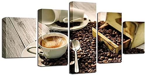 Pintura en lienzo 5 piezas Taza de café Frijoles y aroma de café 5 piezas Impresiones en lienzo Imágenes artísticas de pared Pintura en lienzo moderna Obra de arte para la decoración del hogar