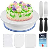 WisFox Cake Plate Rotating Cake Stand Cake Turntable Cake Decorating Turntable with 2 Angled Palette Knife Set, Set of 3 Icing Smoother - for Baking, Pastry Icing Patterns 28 x 7 cm White