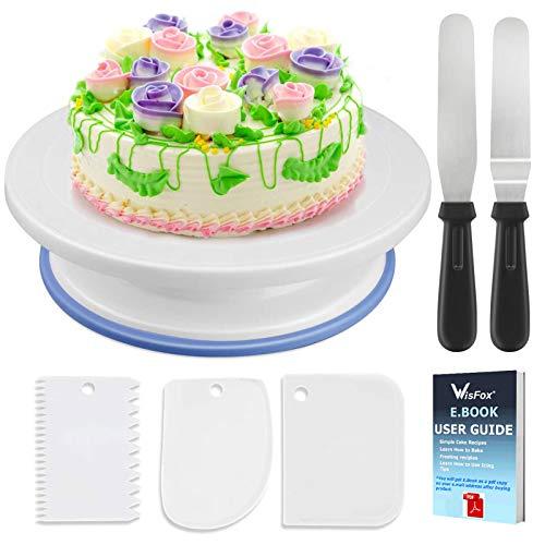 WisFox Tortenplatte drehbar Tortenständer Kuchen Drehteller mit 2 Stück Winkelpalette Set - 3 Stück Icing Smoother