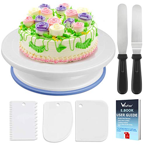 WisFox Cake Plate Rotating Cake Stand Cake Turntable Cake Decorating...
