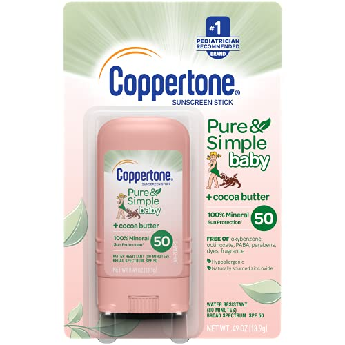 Coppertone Pure & Simple Baby SPF 50 Sunscreen Stick, Water Resistant, Pediatrician Recommended, Mineral Based, Cocoa butter,Broad Spectrum UVA/UVB Protection, 0.49 Ounce