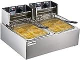 Freidora eléctrica comercial Freidora de patata de acero inoxidable, freidora de la cocina con cesta de acero inoxidable, fácil de limpiar (Tamaño: 11L) Mengheyuan (Size : 11L)