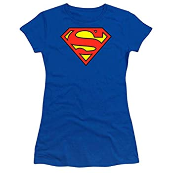 Popfunk Superman Logo S Shield Juniors Teen Girls T Shirt & Stickers  X-Large  Royal Blue