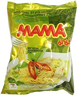 Mama Instant Noodle Chicken Green Curry, 55g X 30 Packages (1 Case) (Green Curry, 55g)