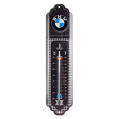 Nostalgic-Art, Termómetro analógico, BMW Classic – Regalo para los aficionados a los accesorios de coches, de metal, Diseño vintage, 6,5 x 28 cm
