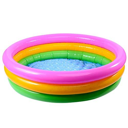 ZDYS Piscina inflable para niños, piscina de PVC Sunset Glow Baby Piscina, diseño de 3 anillos de arco iris para exteriores, patio, césped, patio para edades de 2 años, PVC 60 x 21 cm/90 x 24 cm