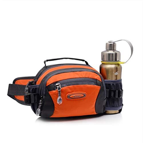 Lifewheel, sac à ceinture sport multifonctionnel de plein air en nylon hydrofuge qui se porte à la taille pour femme doté d'un support à bouteille d'eau et 3 compartiments avec fermeture à glissière, femme Homme Enfant, Orange