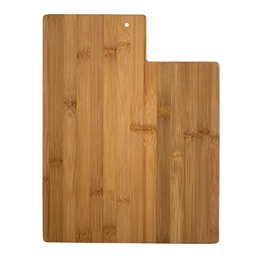 Totally Bamboo Utah State Shaped Serving & Cutting Board, Natural Bamboo