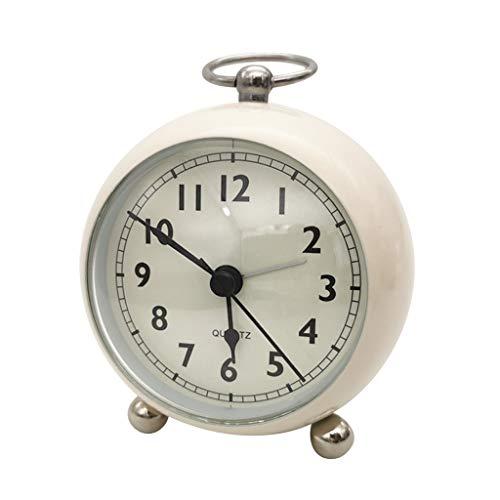 Flameer Reloj Despertador para Mesilla de Noche Escritorio Mesa Color Macarrón con Aro Colgante - Beige, 120x170x76mm