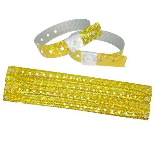 Lote de 100 pulseras de plástico – Vinilo para eventos festivales – Impermeables (amarillo holográfico)