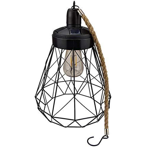 Yard Island Solar Led Edison Bulb Large Hanging Outdoor Porch Garden Decorative Cage Lantern Light