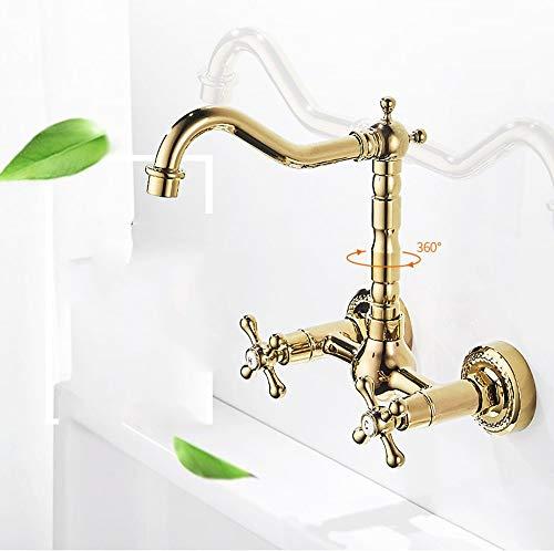 XHNXHN Oro en la pared de la cocina caliente y fría grifo doble poner todo el cobre lavabo lavabo fregadero lavabo lavabo piscina fregona grifo