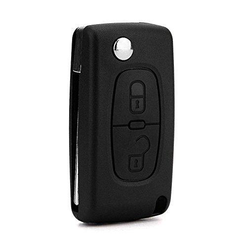 DaoRier 2 botones Carcasa para llave plegables llaves en blanco auto Mandos a distancia inalámbrico llave para Peugeot 107 206 207 307 308 407 Citroen C2 C3 C4 C5 C6 1 pieza