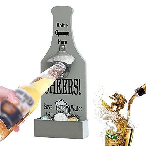 Birra Apribottiglie da Parete, Apribottiglie da Birra in Stile Vintage, con Tappo Acchiappasogni, Ottimo Regalo per bar, Feste, Cucina, Amanti della Birra (Grigio)