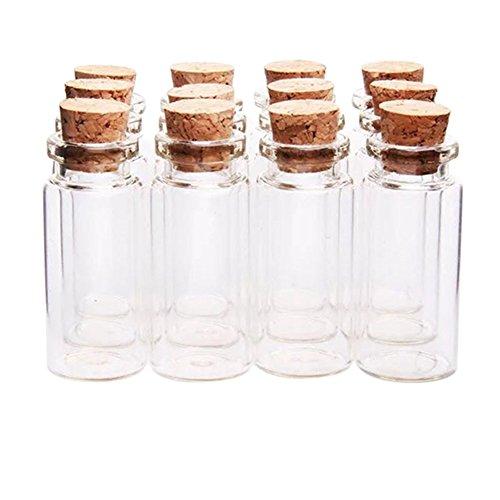 12pcs Chytaii Mini Botellas Deseo Frasco de Vidrio con Tapones de Corcho Tubos para Decoración DIY Botella de Vidrio Transparente 1.5ML