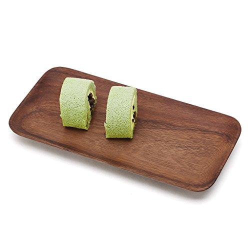 Zfggd Plaque de Fruits en Bois Rectangle, Premier Housewares Bol à Salade en Bois d'acacia, boîte de Rangement multifonctionnelle de Dessert de Bonbons de Casse-croûte, 24,8 * 12,8 * 2cm