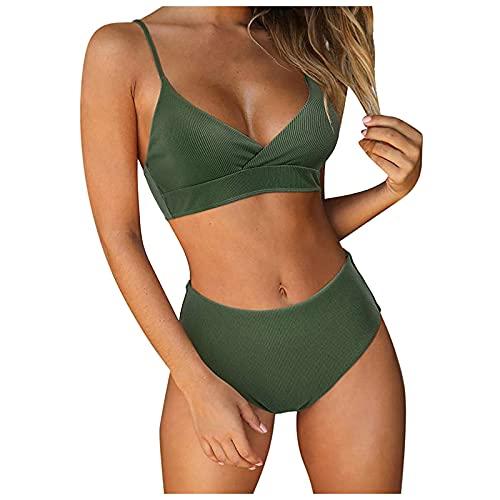 Zonary Damen Zweiteiliger Badeanzug Bikini Set Sexy Triangle Tiefer V-Ausschnitt Bikini Oberteil Plaid Bikini Verstellbarer Schultergurt Badeanzug Hohe Taille Badehose Sommer Badebekleidung