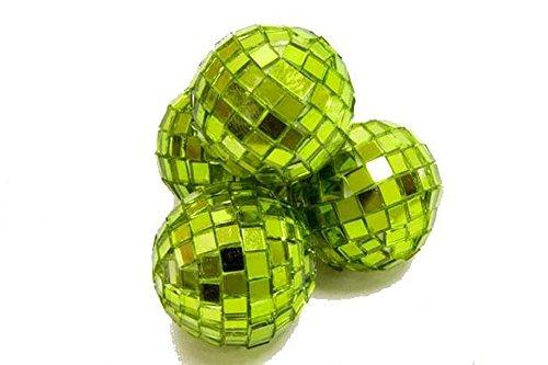 Mini boules à facettes vert anis x4