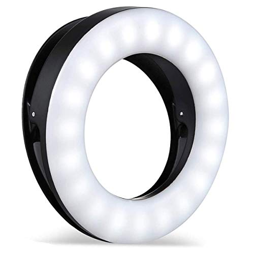Whellen Selfie Ring Light for Phone Laptop Tablets Camera Photography Video, Rechargeable LED Clip On Light (Black)