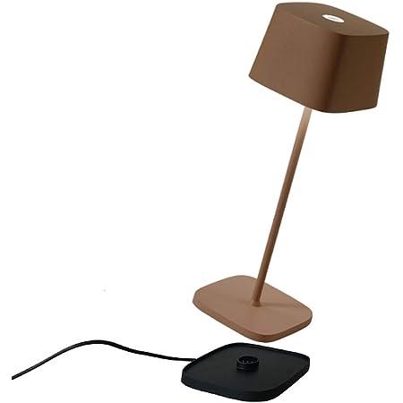 Zafferano - Ofelia Pro Aluminium Lampe de Table à LED à Intensité Variable, Base de Chargement par Contact, Protection IP65, Utilisation Intérieure/Extérieure, H29cm, Prise EU - Corten