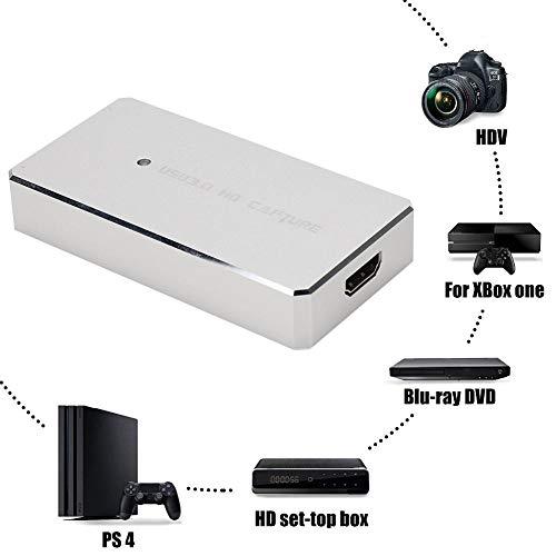 Video Capture Box, USB 3.0 HDMI HD Driver Free Video Live Streaming Recorder Capture Box para Windows, Compatible con el estándar UVC, transmisión de Datos de Alta Velocidad USB3.0