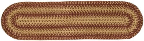 BCD Burgundy and Tan Braided New popularity Jute New item Runner Primi Rug Country Table