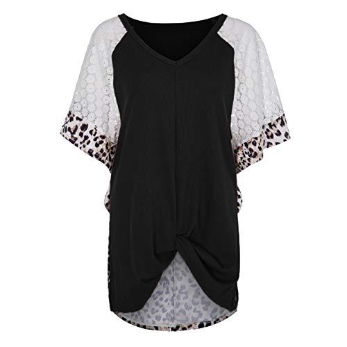 Jersey de Mujer Top Irregular Tendencia Costura Moda Casual Suelto Básico Todo-fósforo Exterior Básico Camiseta de Manga Corta M