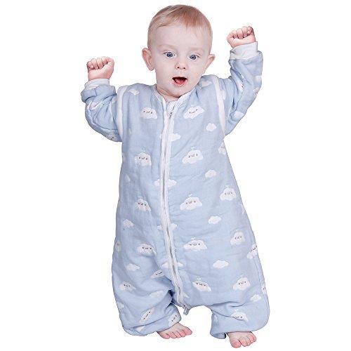 *Lictin Schlafsack mit Füße Schlafsack Baby mit abnehmbaren Ärmeln für Säugling Kinder 1-3 Jahre alt von 75 bis 95 cm 100% Bio-Baumwolle 2.0tog*