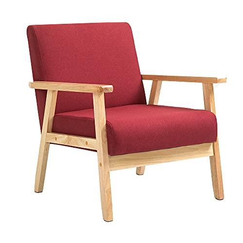 Mingone Sessel Couch Holz Stoff Leinen für Schlafzimmer Lounge Wohnzimmer Büro Garten Hof (Weinrot, 64,5 x 67 x 73,5 cm)