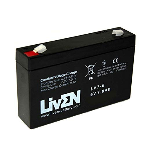 Batería AGM 6V 7Ah C-20 Sin Mantenimiento - Equipos Seguridad/Médicos/SAI/Comunicación/Emergencia   LIVEN LV7-6