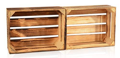 CHICCIE 2 Set Geflammte Obstkisten - 38cm x 28cm Holzkisten Weinkisten Holz Kisten Apfelkisten Obstkiste Gebrannt