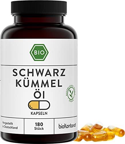 Schwarzkümmelöl Kapseln BIO 180 Kapseln I vegan und ohne Zusätze I 1000 mg pro Tagesdosis I Schwarzkümmelöl ägyptisch kaltgepresst - aus kontrolliert biologischem Anbau I bioKontor
