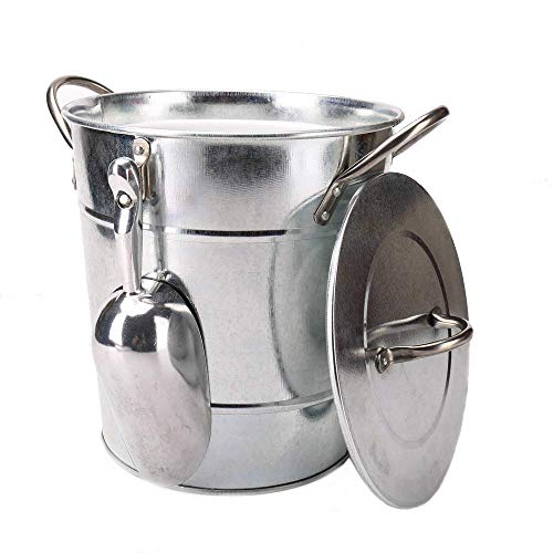 T586 4L Silver Metal Galvanized Double Walled Ice Bucket Set With Lid And Scoop