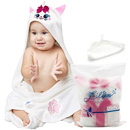 Bamboo Hooded Baby Bath Towel & Wash Mitt Set - Extra Large | Super Soft, Thick, Absorbent Towel for Babies, Toddlers, Infants