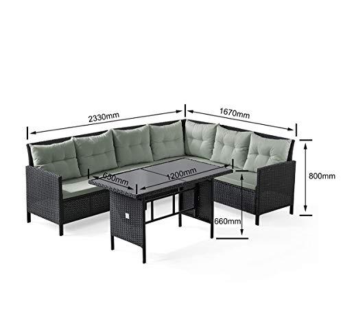 SVITA Poly Rattan Ecksofa Rattan-Lounge Esstisch Gartenmöbel-Set Sofa Garnitur Couch-Eck (Dining Set, Schwarz) - 4