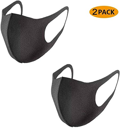 Mosaic 2-Pack Reusable Face Mask (Black Cotton) Washable for Men and Women