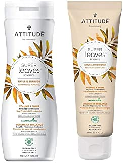ATTITUDE Super Leaves Volume and Shine Shampoo and Conditioner- Soy Protein and Cranberries Bundle With Vitamin B5, Watercress, Indian Cress, and Raspberry, 16 fl. oz. and 8 oz.