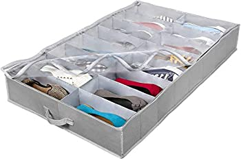 Extra-Large Under Bed Shoe Storage Organizer - Underbed Storage Solution Fits Men s and Women s Shoes High Heels and Sneakers with Durable Vinyl Cover & Extra-Strong Zipper - Grey