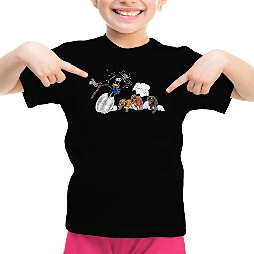 T-Shirt Enfant Fille Noir One Piece parodique Brook : Le ami du Chien ! (Parodie One Piece)