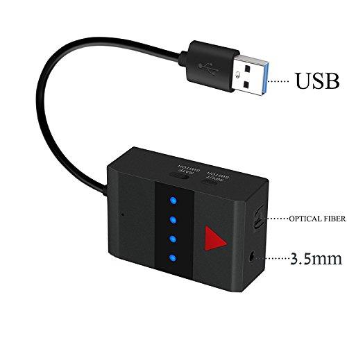 YETOR trasmettitore audio Bluetooth per Smart TV Xbox PS4 integrato a fibra ottica di ingresso coassiale, ingresso AUX ingresso può collegare Daul Blu