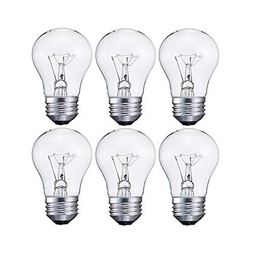 Sterl Lighting - Pack of 6 Bulbs, 15-Watt Decorative A15 Incandescent Light Bulb, Medium Standard Household Base (E26), Crystal Clear