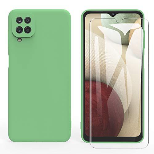 ARRYNN Funda Samsung Galaxy A12 con Cristal Templado Protector de Pantalla,Verde Ultra Slim Protectora Funda de Silicona Líquida Suave Case Cover para Samsung Galaxy A12 - Verde