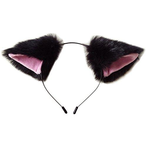 Cutegirl Cat Fox Ears Long Fur Hair Headband Anime Cosplay Party Costume Black & Pink