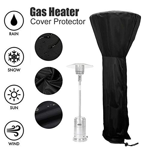Patio Heater Cover 210D Oxford Waterproof Heavy Duty Garden Outside Round Stand Up Patio Heater Protector with Storage Bag, Four Size are Available, Black (Size : 88.97x33.46x18.90in)