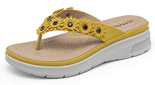 HylianZ Comfy Low Wedge Sandals For Women With Small Rhinestone Rivets - Light Weight Comfortable Small Flowers Blue Womens Flip Flop