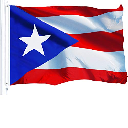 G128 – Puerto Rico (Puerto Rican) Flag   3x5 feet   Printed 150D – Indoor/Outdoor, Vibrant Colors, Brass Grommets, Quality Polyester, Much Thicker More Durable Than 100D 75D Polyester