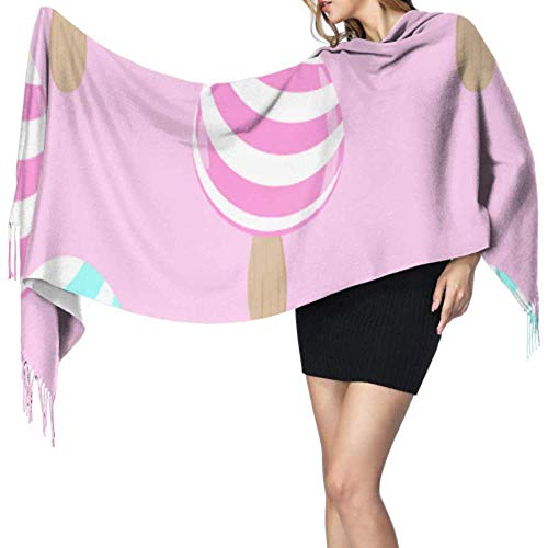 Duanrest Kleurrijke verschillende soorten zoete snoepjes-sjaal Unisexfransen-verpakkingssjaal grote sjaal verpakking grote zachte Pashmina extra warm