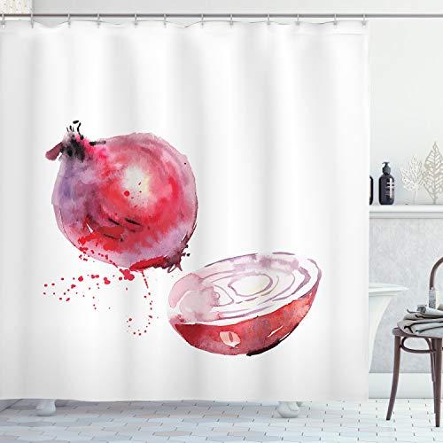 ABAKUHAUS Gemüse Kunst Duschvorhang, Zwiebel-Aquarelle, mit 12 Ringe Set Wasserdicht Stielvoll Modern Farbfest & Schimmel Resistent, 175x200 cm, Getrocknete Rose Rot