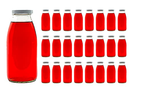 slkfactory, 24x 250ml (0,25l) Bottiglie di Vetro vuote per Latte o per Succo di Frutta, con Tappo a Vite
